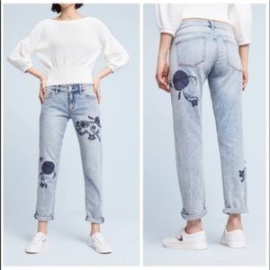 Anthropologie Pilcro Hyphen Embroidered Jeans 27P